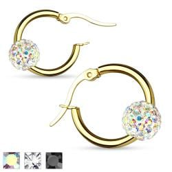 Pair of Colored Crystal Ball Gold IP 316L Surgical Steel Hoop Earring