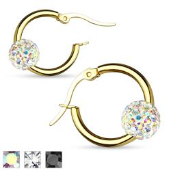Pair of Colored Crystal Ball Gold IP 316L Surgical Steel Hoop Earring - Thumbnail 0