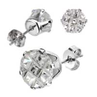 Pair of Stainless Steel Multi Faceted Round Grid Gem Earrings - 5mm Diameter