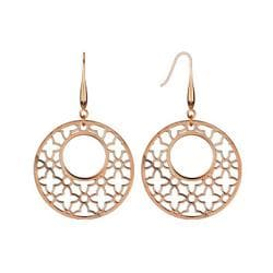 Pair of Rose Gold Plated Stainless Steel Micro Thin Laser Cut Ornament Dangle Earrings - Thumbnail 0
