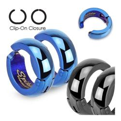 Color IP Hoops Pair of 316L Surgical Stainless Steel Non-Piercing Clip On Earrings
