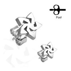 Stainless Steel Tribal Star Ear Stud - Thumbnail 0