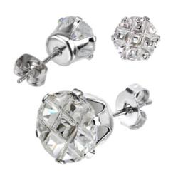 Pair of Stainless Steel Multi Faceted Round Grid Gem Earrings - 7mm Diameter - Thumbnail 0