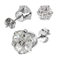 Pair of Stainless Steel Multi Faceted Round Grid Gem Earrings - 7mm Diameter