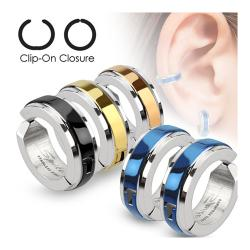 Center Strip Color IP Pair of 316L Surgical Stainless Steel Non-Piercing Clip On Round Dome Earrings