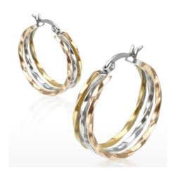 Pair of Stainless Steel Gold IP Triple Tone Three Twist Rings Hoop Earring - Thumbnail 0