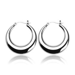 Stainless Steel 'Crescent Moon' Round Click-Top Earrings - Thumbnail 0