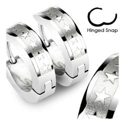 Stainless Steel Hoop Earrings with 5 Star Logos - Thumbnail 0