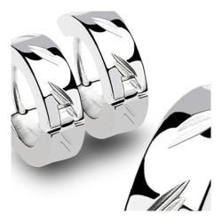Stainless Steel Hinged Hoop Earrings with DiaCut (Sold in Pairs) - Thumbnail 0