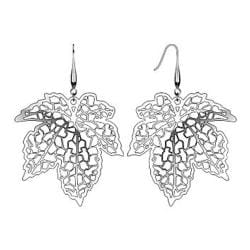 Pair of Stainless Steel Micro Thin Laser Cut Maple Leaf Dangle Earrings