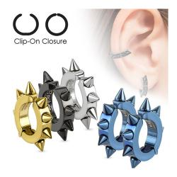 Oval Hoop Pair of 316L Surgical Stainless Steel IP Non-Piercing Clip On Earrings with Spikes