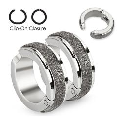 Brushed Finished Middle Strip Pair of 316L Surgical Stainless Steel Non-Piercing Clip On Earrings - Thumbnail 0