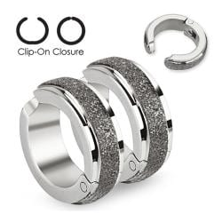 Brushed Finished Middle Strip Pair of 316L Surgical Stainless Steel Non-Piercing Clip On Earrings