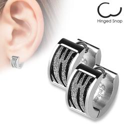 Pair of 316L Stainless Steel Earrrings with Square Zebra and Sparkle - Thumbnail 0