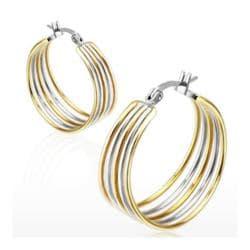 Pair of Stainless Steel Gold IP Duo Tone Five Rings Hoop Earring - Thumbnail 0