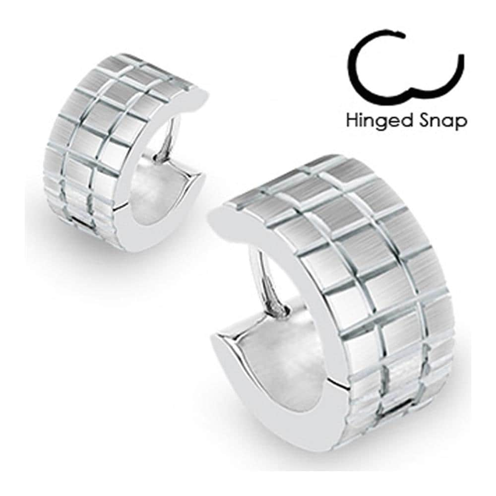 Stainless Steel Hoop Earrings with Brushed Steel Grooved Square Grids