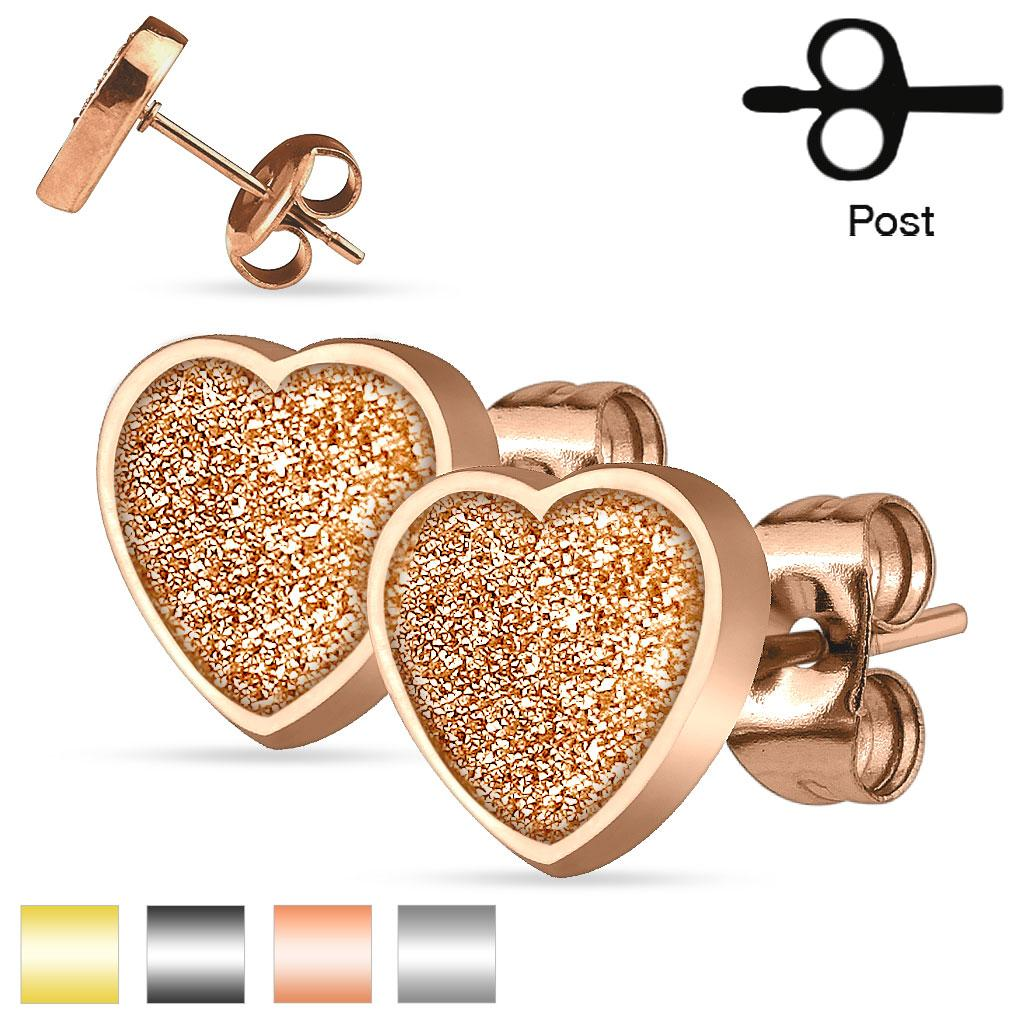 Pair of 316L Stainless Steel Heart Sand Glitter Stud Earrings