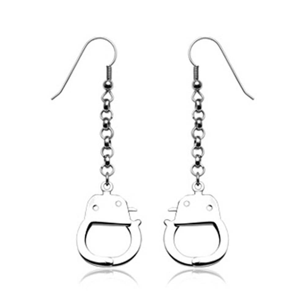 316L Hook Earrings with Dangling Handcuffs (Sold in Pairs)