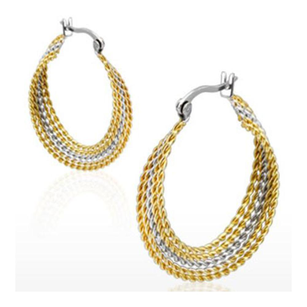 Pair of Stainless Steel Gold IP Duo Tone Twisted Layered Rings Hoop Earring