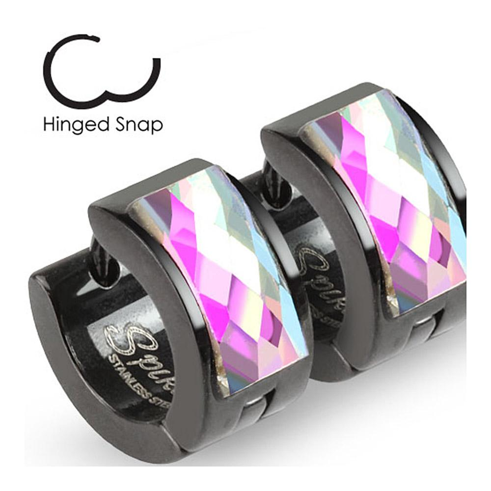 Pair of Black IP Over 316L Surgical Stainless Steel Hoop Earrings with Faceted Square Gem