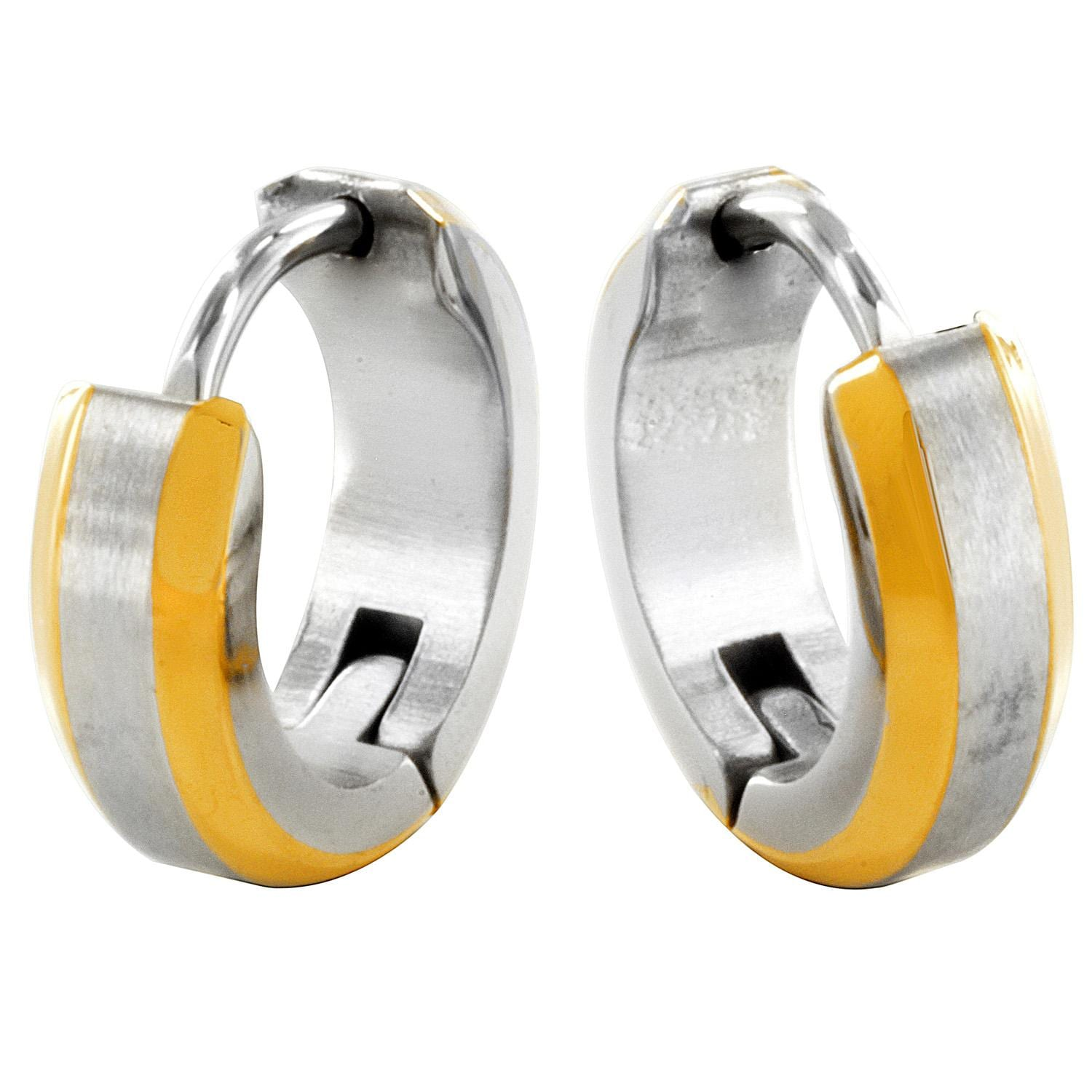 Stainless Steel Hoop Earring with Gold Plated Edges