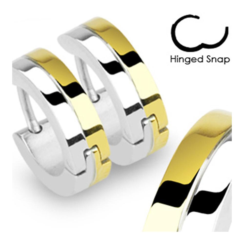 Stainless Steel Double Layered Steel & Gold Plated Earrings
