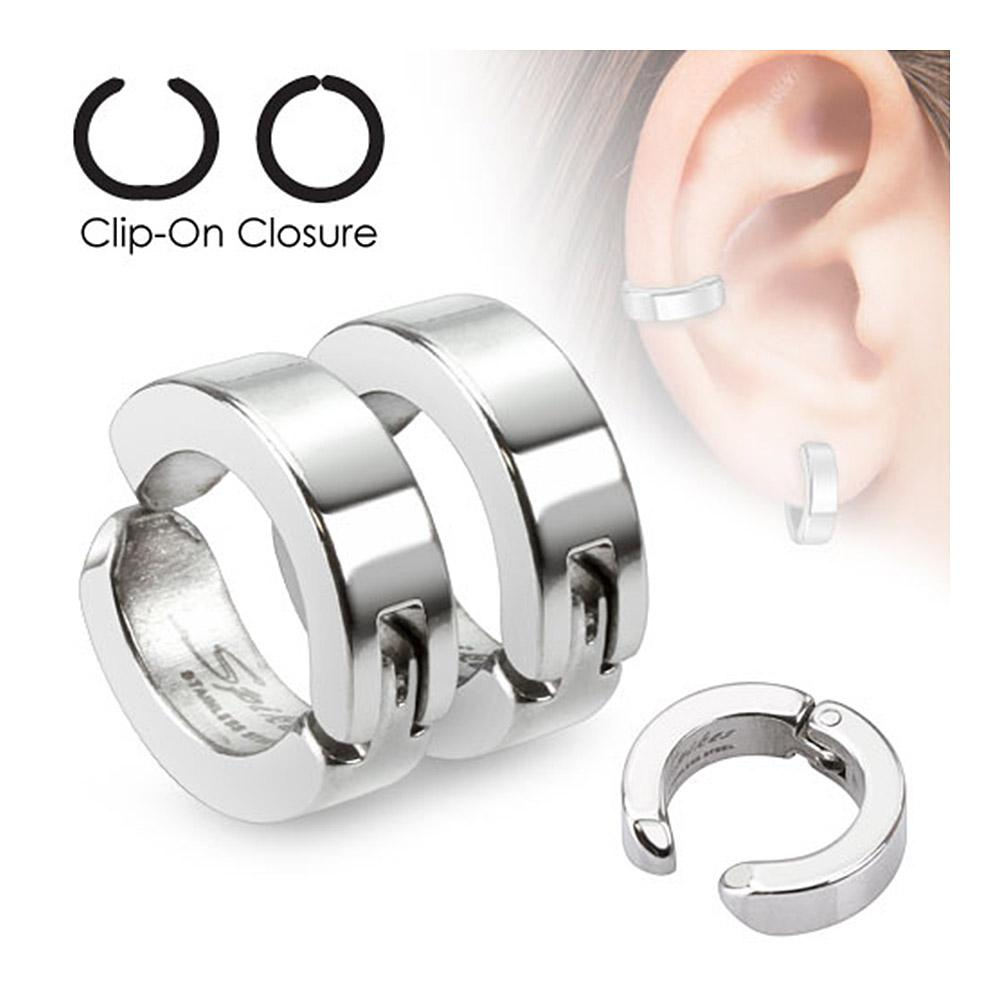 Pair of Round Non-Piercing Clip On Earrings 316L Surgical Stainless Steel