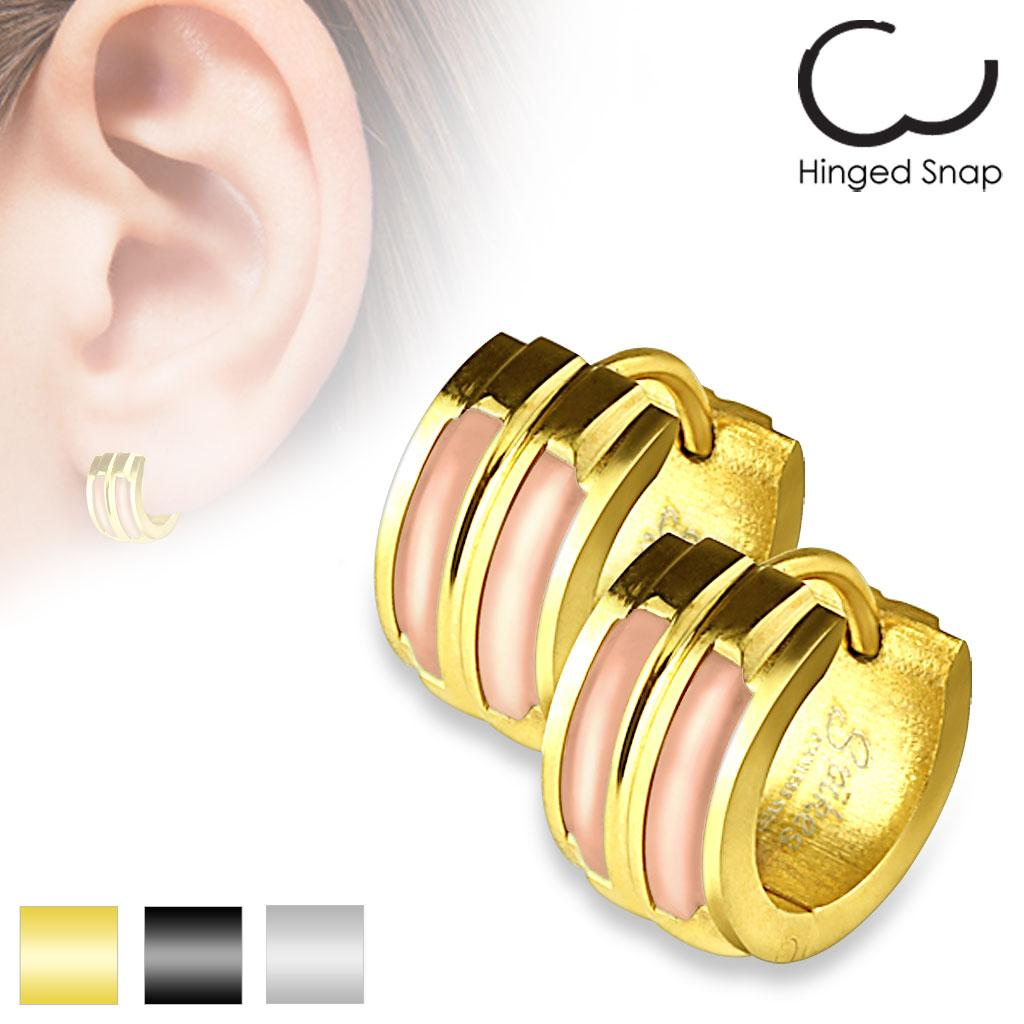 Pair of 316L Stainless Steel Double Shell Inlay Hoop Earrings