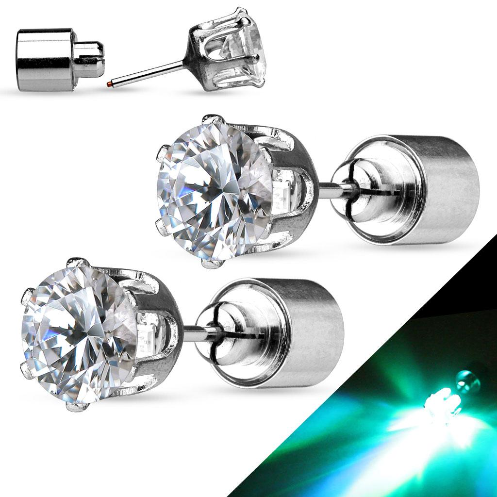 Pair of LED Blinking Clear Round CZ 316L Surgical Steel Stud Earring - 8 mm