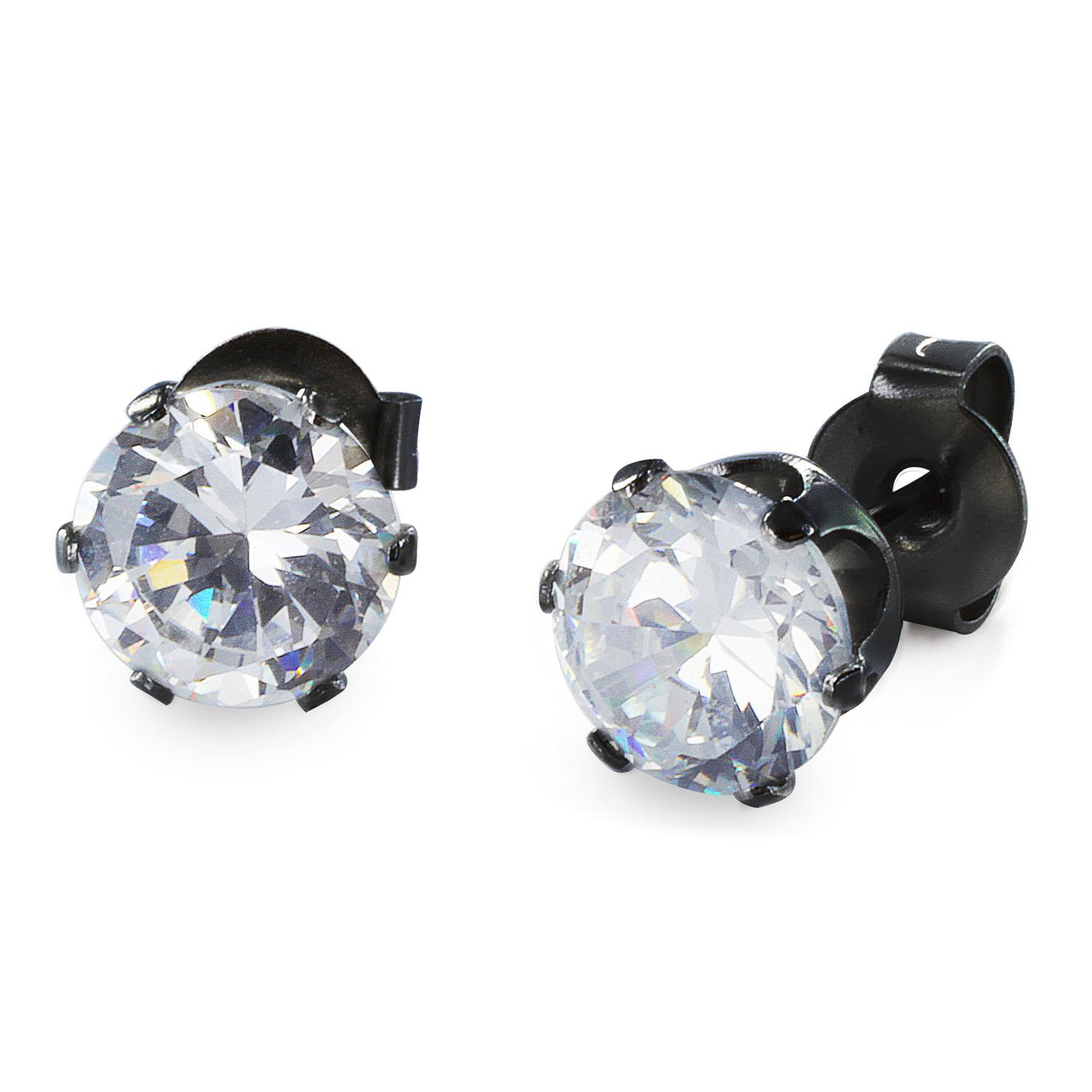 Black Plated Stainless Steel Stud Earrings with Round Clear CZ - 5 mm
