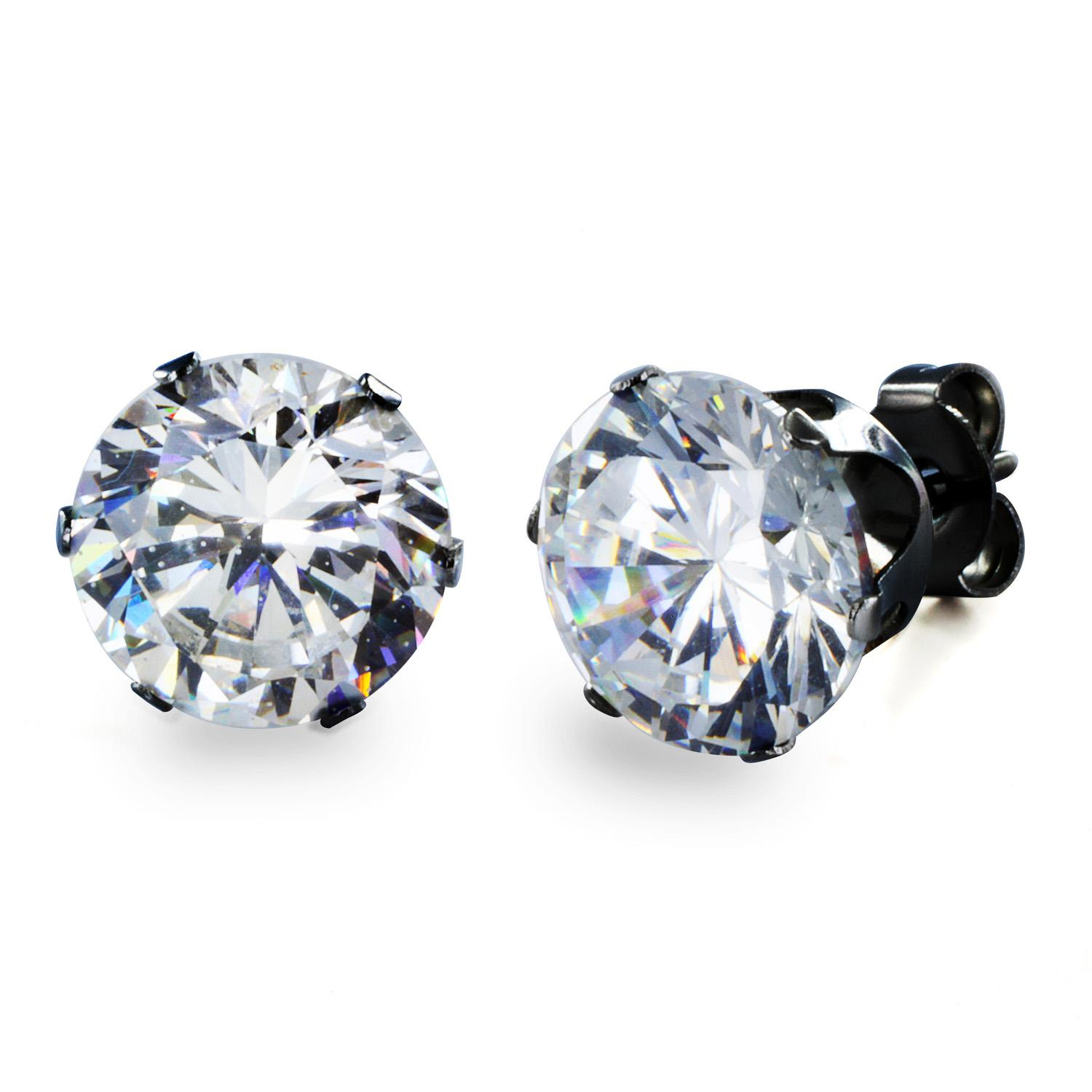 Black Plated Stainless Steel Stud Earrings with Round Clear CZ - 9 mm