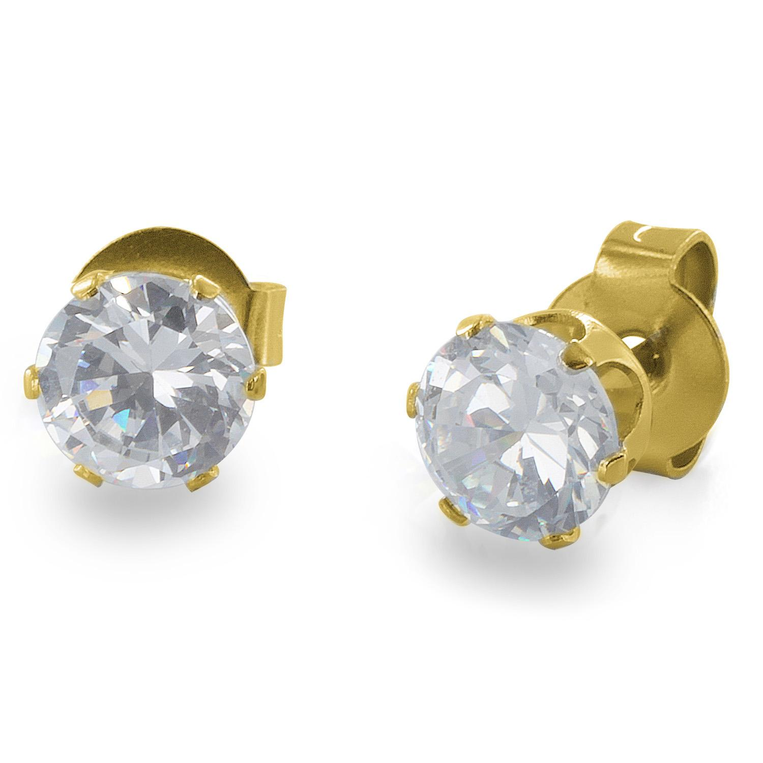 Gold Plated Stainless Steel Stud Earrings with Round Clear CZ - 3 mm