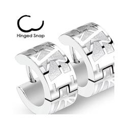 Pair of 316L Surgical Stainless Steel Two Tone Hoop Earring with Geometric Web - Thumbnail 0