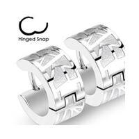 Pair of 316L Surgical Stainless Steel Two Tone Hoop Earring with Geometric Web