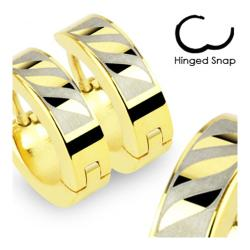 Stainless Steel Gold Plated Earrings with 3 Tribal Leaf - Thumbnail 0