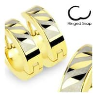 Stainless Steel Gold Plated Earrings with 3 Tribal Leaf