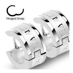 Stainless Steel Hinged Hoop Earrings with Roman Numeric Engrave (Sold in Pairs) - Thumbnail 0