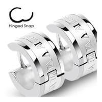 Stainless Steel Hinged Hoop Earrings with Roman Numeric Engrave (Sold in Pairs)