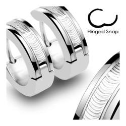 Stainless Steel Hinged Hoop Earrings with Wire Center (Sold in Pairs) - Thumbnail 0