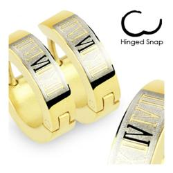 Stainless Steel Gold Plated Earrings with Roman Numerals - Thumbnail 0