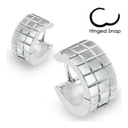 Stainless Steel Hoop Earrings with Brushed Steel Grooved Square Grids - Thumbnail 0