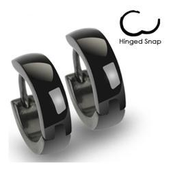 Stainless Steel Black Hinged Hoop Earrings