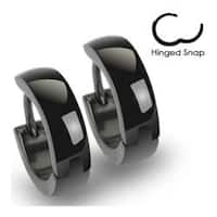 Stainless Steel Black Hinged Hoop Earrings