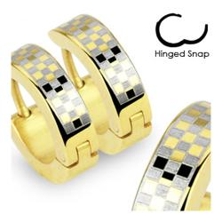 Stainless Steel Gold Plated Earrings with Checker Design - Thumbnail 0