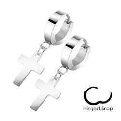 Stainless Steel Hinged Hoop Earrings with Cross Dangle - Thumbnail 0