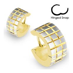 Stainless Steel Gold Plated Hoop Earrings with Brushed Steel Grooved Square Grids - Thumbnail 0