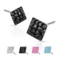 Pair of 316L Surgical Steel Multi Paved Square Ferido Stud Earring
