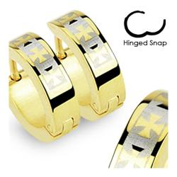 Stainless Steel Gold Plated Earrings with 3 Celtic Crosses - Thumbnail 0