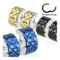 Pair of 316L Surgical Stainless Steel IP Hoop Earring with Grooved Diamond Grids - Thumbnail 0