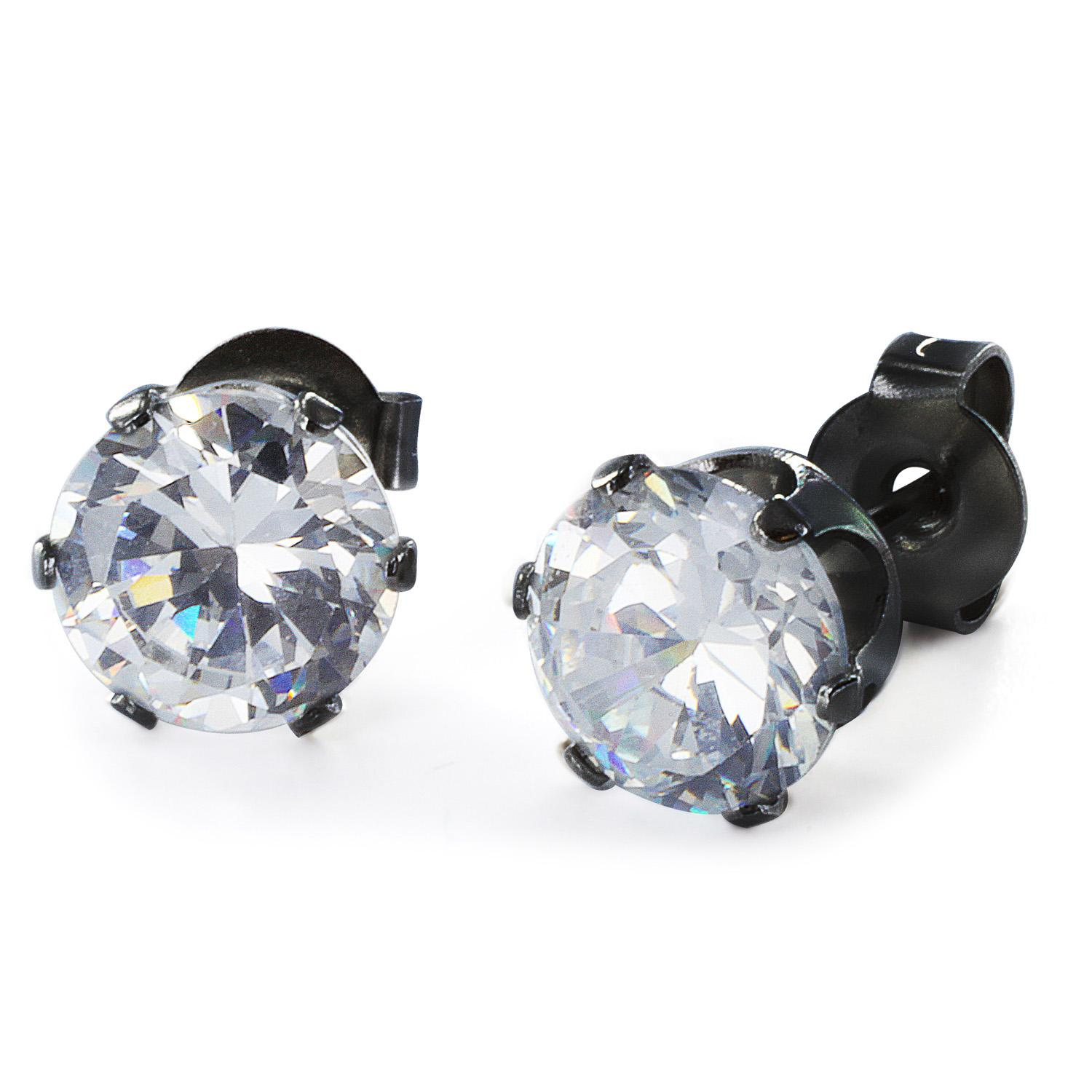 Black Plated Stainless Steel Stud Earrings with Round Clear CZ - 6 mm